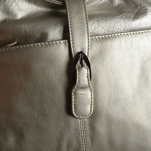 Blocker 100 with Leather Cm Zipper Handbag Genuine Size Metallic Colour RFID External and Golden Pocket Tassels 33X29X10 R8Ht8
