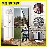 """EZline Magnetic Screen Door - French Door Screen - Bug Screen Door - Heavy Duty Mesh Curtain - Garage Door Screen - Sliding Door Screen - Mosquito Mesh - Retractable Screen Door 39"""" x 83''"""