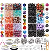 EuTengHao 878Pcs Lava Beads Chakra Beads Glass Crackle Beads Kit with Spacer Beads Jump Ring Jewe...