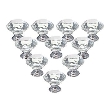 10X30 MM Kristall Acryl Glas Diamant Cut T/ürgriffe K/üchenschrank Schubladenkn/öpfe mit Schraube f/ür Home Decorating