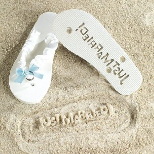 (Just Married Flip Flops - Stamp Your Message in the Sand! - 10 inch Flip Flops, fit womens sizes 8-10)