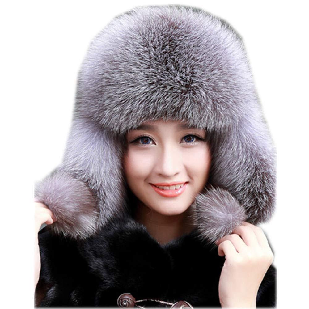 Gegefur Womens Fox Fur Russian Ushanka Trapper Hat with Pom Poms (Silver Fox)
