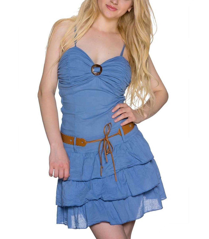 Sexy Minikleid in Blau aus Baumwolle als Sommerkleid 36