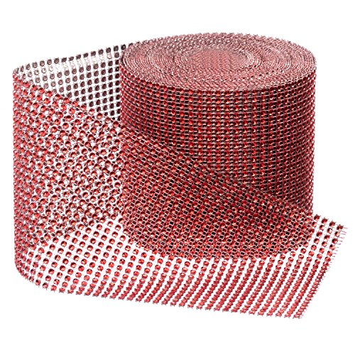 Red Diamond Sparkling Rhinestone Bling Wrap Ribbon Bulk DIY Roll for Event Decorations, Wedding Cake, Bridal/Baby Shower, Birthdays, Arts & Crafts Vase & Party Decorations - 30 Ft - 1 Roll from Royal Imports