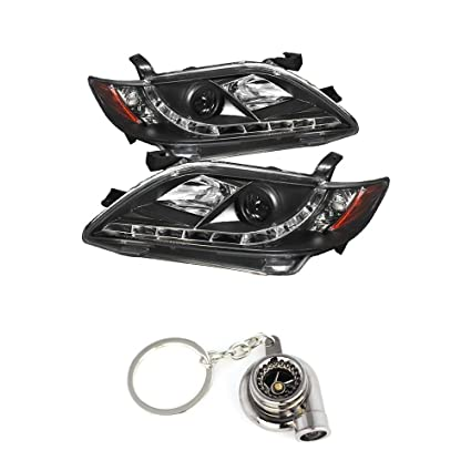 Amazon.com: Toyota Camry Projector Headlights DRL Black Housing With Clear Lens+ Free Gift Key Chain Spinning Turbo Bearing: Automotive
