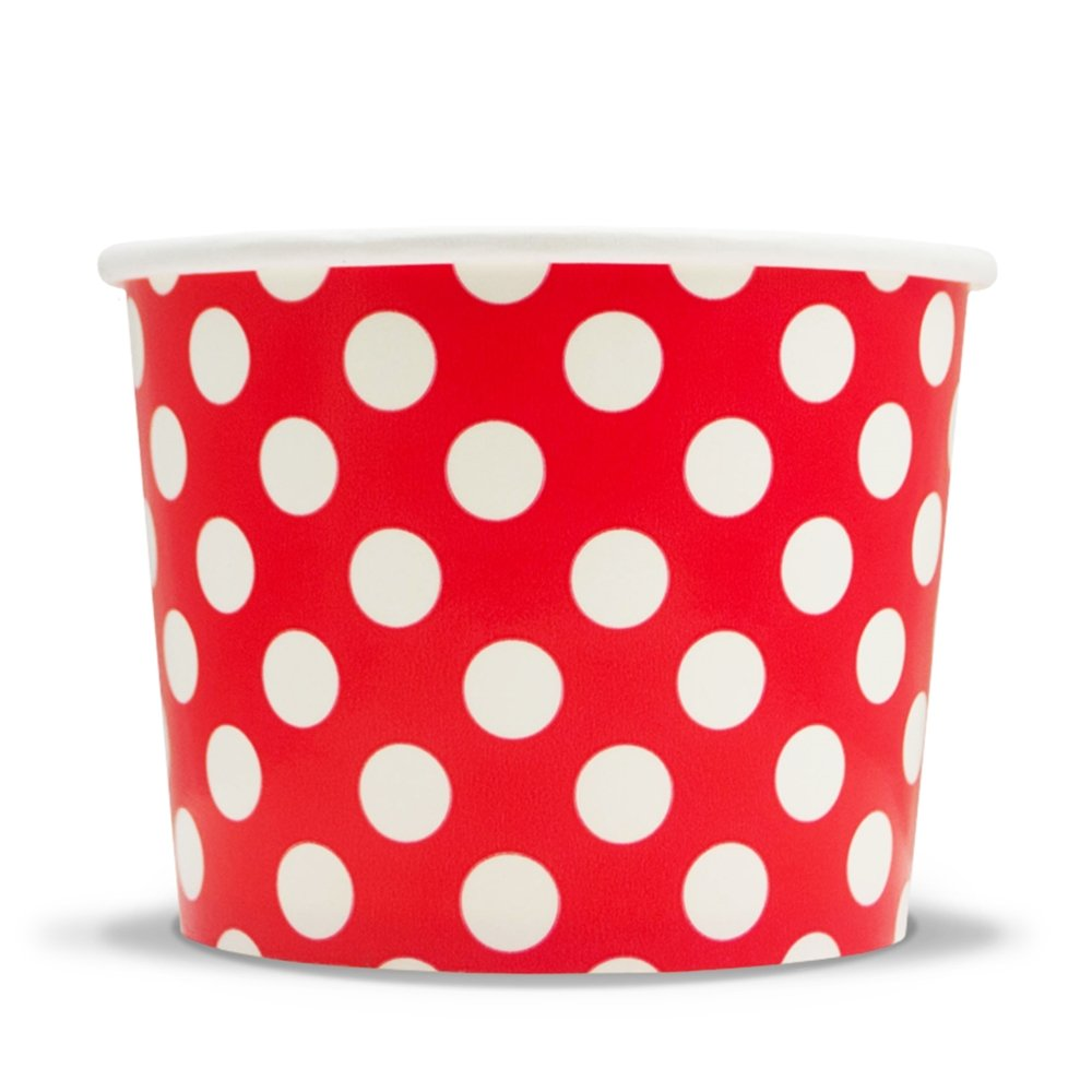 Red Paper Ice Cream Cups - 12 oz Polka Dotty Dessert Bowls - Perfect For Your Yummy Foods! Many Colors & Sizes - Frozen Dessert Supplies - Fast Shipping! 1,000 Count