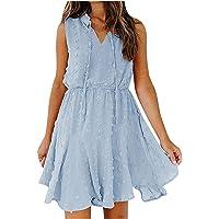 LIUGG Women Chiffon Dresses Knee Length,Ladies V-Neck Sleevless Draw Back Short Skirt Dress Pom Casual Mini Dress…