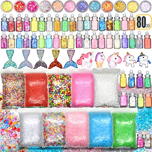 - Slime Stuff Slime Add Ins Fish Bowl Beads Floam Beads Ingredients Mermaid Unicorn Slime Charms Glitter Jar Slime Kit 80 PCS