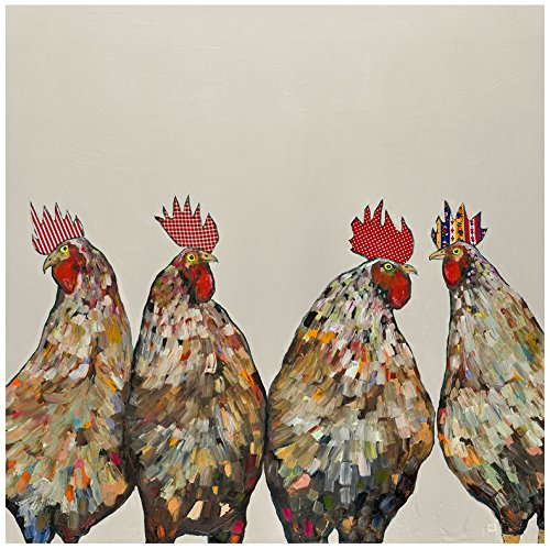 GreenBox - Roosters on Cream 39x39 canvas Wall Art, by Eli Halpin