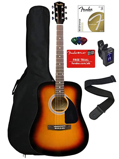 fd13cbe0f8 Amazon.com: Fender FA-100 Dreadnought Acoustic Guitar - Sunburst Bundle  with Gig Bag, Tuner, Strings, Strap, and Picks: Musical Instruments