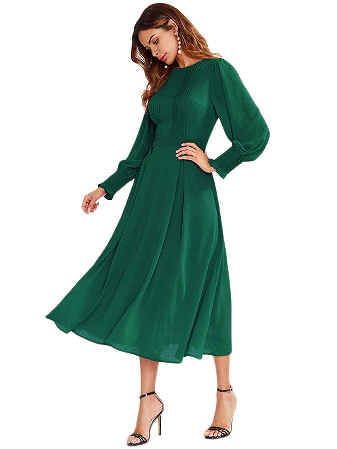 1940s Dress Styles Milumia Womens Elegant Frilled Long Sleeve Pleated Fit & Flare Dress $36.99 AT vintagedancer.com