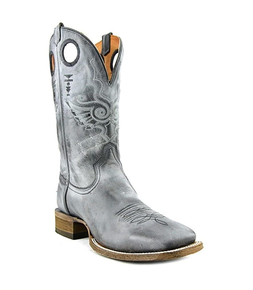 15416440f6a CORRAL Men's Vintage Grey Embroidery Square Toe Western Boots A3259 ...