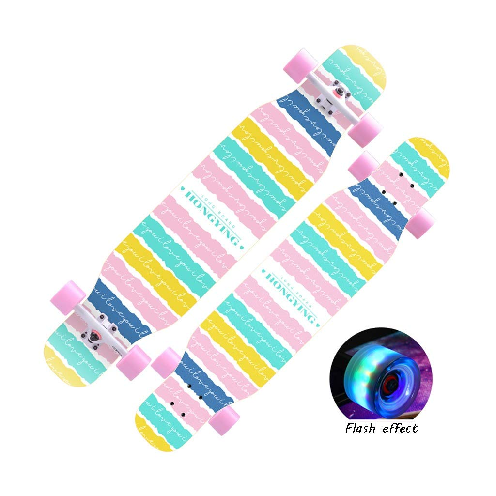 HXGL-Skateboard Professional Skateboard Longboard Boys Skateboard Professional Brush Street Dance Board Beginner Girls Boys (Color : Flash-Colorful)