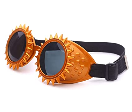 6bec12410f27 Image Unavailable. Image not available for. Color  Focussexy Rave Retro  Steampunk Goggles Lens Crystal Vintage Style Glasses for Cosplay Halloween