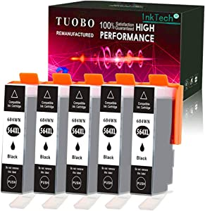 5 Packs Black Replacement for HP 564XL Ink Cartridge High Yeild Compatible with HP Photosmart 5520 6510 6520 7510 7520 7515 C6380 C310a