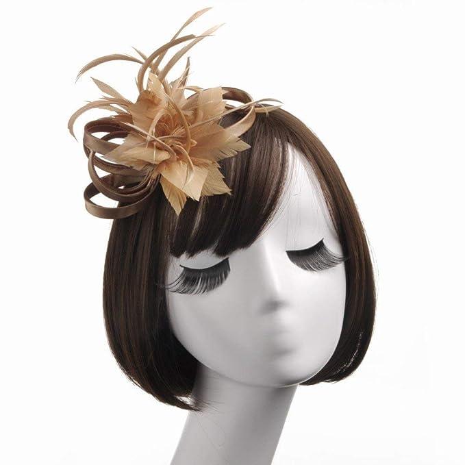 Eeayyygch Sombrero - señoras Tiara de otoño e Invierno Sombreros Europeos  Lino Material de Plumas Boda Boda Banquete Boda fotografía Sombrero Nupcial  (Color ... b7dd638ac4c2