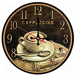 Cappuccino Wood Clock Non-Ticking Silent Wall Clocks Quartz Watch Cafe Bar Home Decor Gift 12 inch