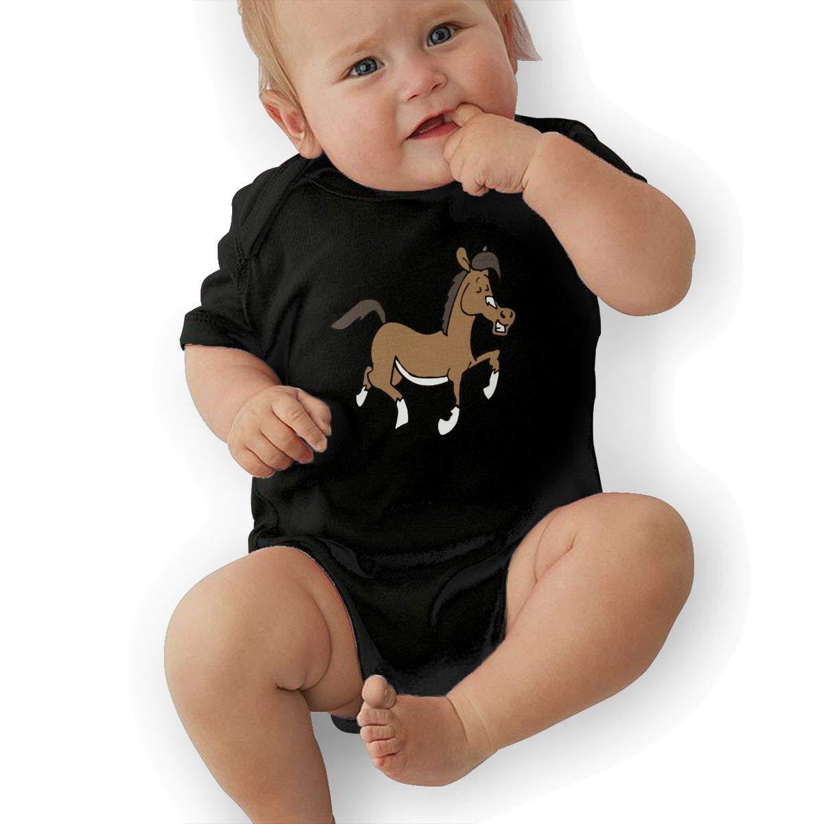 BONLOR Cute Funny Jumping Horse Baby Boys Girls Jumpsuits Short Sleeve Romper Bodysuit Bodysuit Jumpsuit Outfits Black