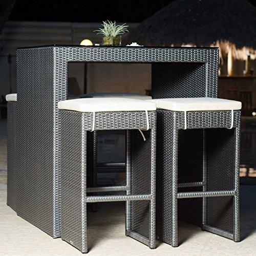 MATRIX Hallandale Grey Synthetic Rattan Five Piece Outdoor Dining Set or Pub ()