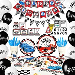 WERNNSAI Racing Car Party Supplies Set – Birthday Party Decorations for Boys Banner Balloons Tablecloth Plates Cups Napkins Cupcake Toppers Tableware Utensils Serves 16 Guests 204 PCS