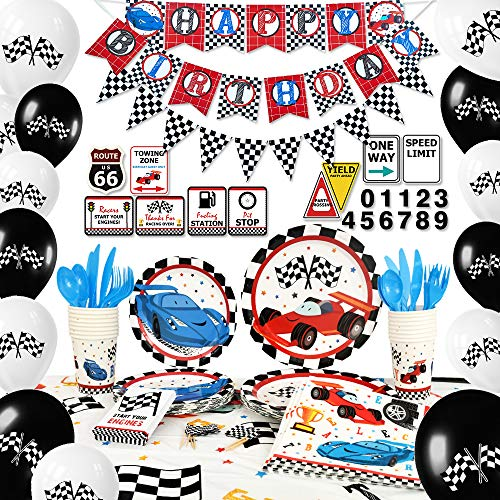 Race Car Birthday Party Supplies (WERNNSAI Racing Car Party Supplies Set - Birthday Party Decorations for Boys Banner Balloons Tablecloth Plates Cups Napkins Cupcake Toppers Tableware Utensils Serves 16 Guests 204)