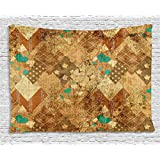 Abstract Decor Tapestry by Ambesonne, Murky Vintage Geometric Diamond Triangle Formed Patchwork Quil