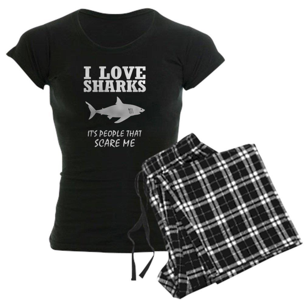 CafePress - I Love Sharks, It's People T - Womens Novelty Cotton Pajama Set, Comfortable PJ Sleepwear