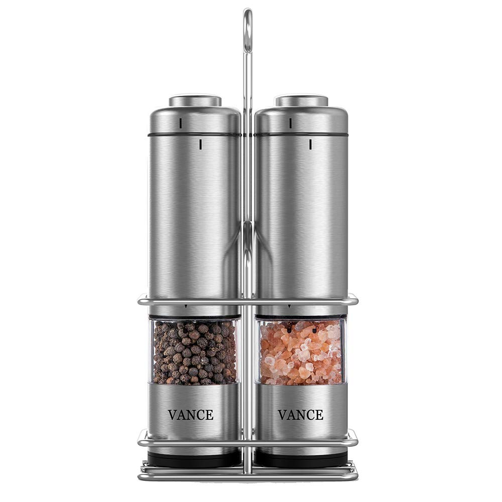 Electric Salt and Pepper Grinderミル、ステンレススチール電池式Salt and Pepper Shaker Set of 2 with調節可能なセラミックミルスタンドキッチンとダイニング用ローターと無料 B07DPCQGP3