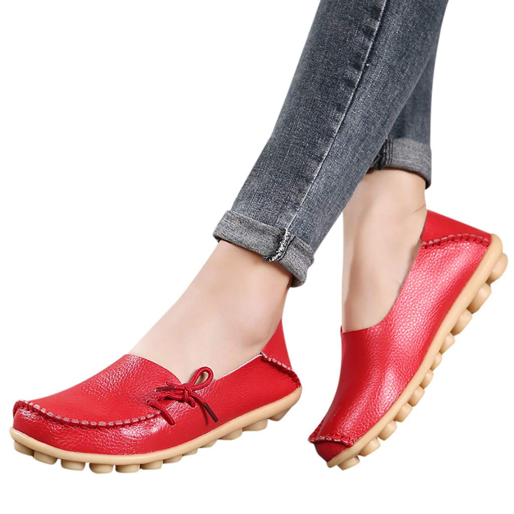 Gyouanime Flat Wedge Office Workout Sandals Shoes Womens Comfortable Cute Nursing Shoes Casual Driving Shoes Red