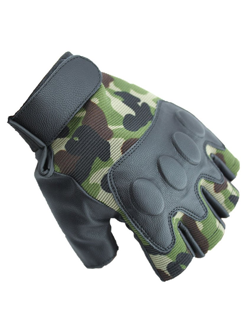 Nidicus Men's Summer Tactical Breathable PU Half Fingered Cycling Gloves Mitten Camouflage