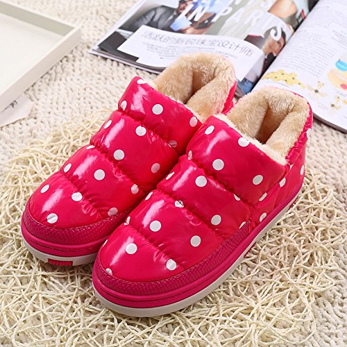 DogHaccd Zapatillas,Invierno Desgaste Interior y Exterior Wave Dot, Zapatos de Algodón Home Stay Suelo Antideslizante Zapatillas de Algodón Grueso Terciopelo Plus El rojo2