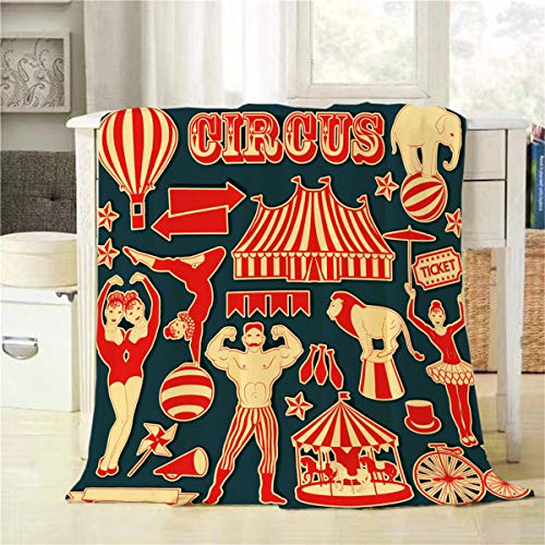 - Mugod Circus Throw Blanket Circus Stars for Clown Strongman Twins Pattern Decorative Soft Warm Cozy Flannel Plush Throws Blankets for Bedding Sofa Couch 60 X 80 Inch