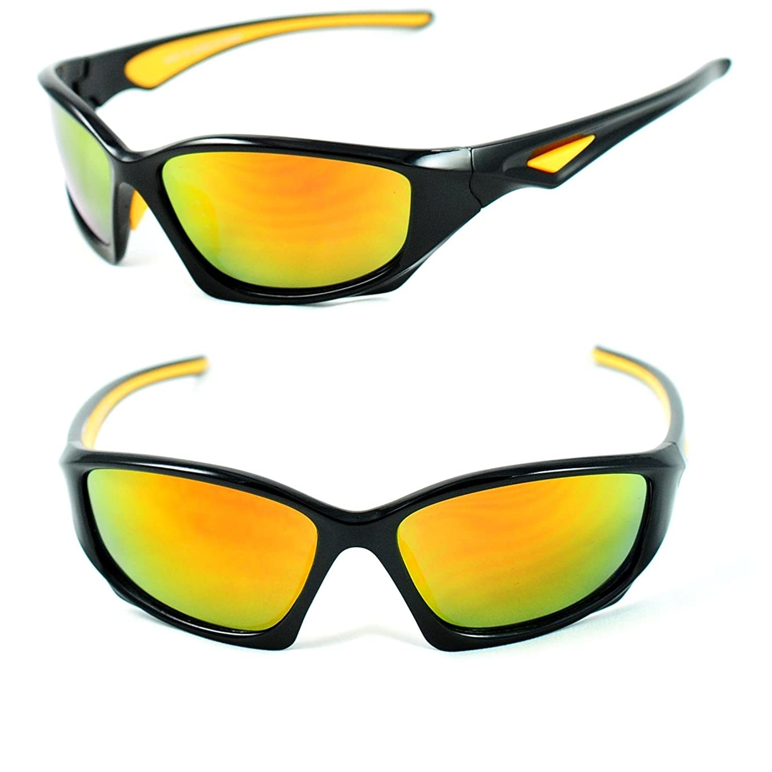 Active Sport Wrap Around Sunglasses Color Mirrored Anti-Reflection Lenses