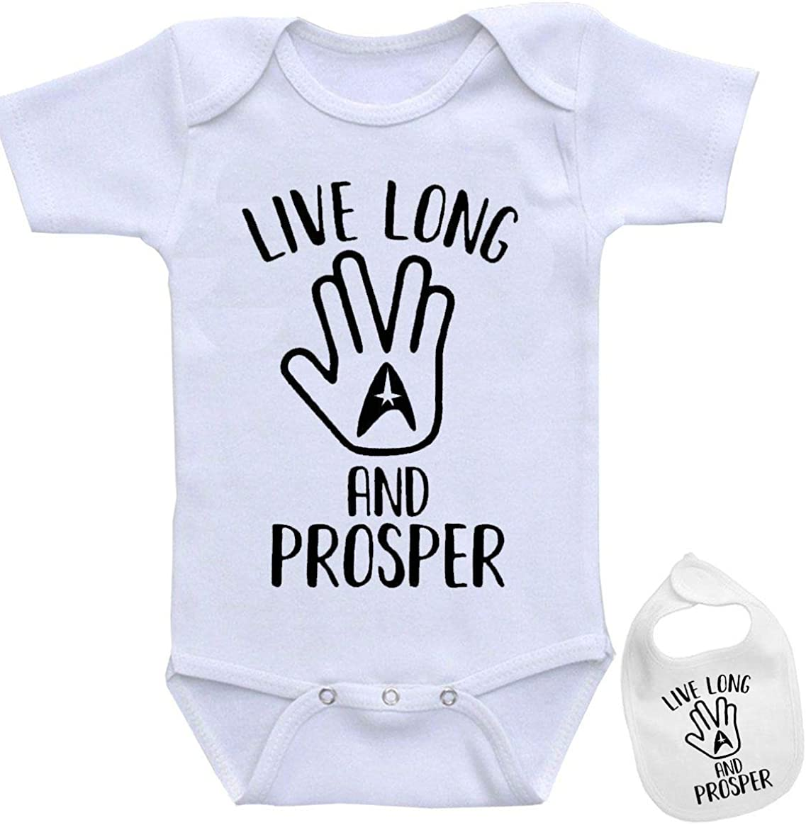 Star Trek Spock -Cute Nerdy Saying Funny Shirt Baby Bodysuit Outfit Onesie & Bib