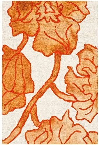 Safavieh Dip Dye Collection DDY683A Handmade Modern Floral Watercolor Ivory and Orange Wool Area Rug 8 x 10