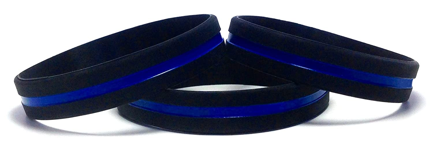 TheAwristocrat 3 Pack of Thin Blue Line Rubber Wristband Silicone Bracelet to Support Law Enforcement