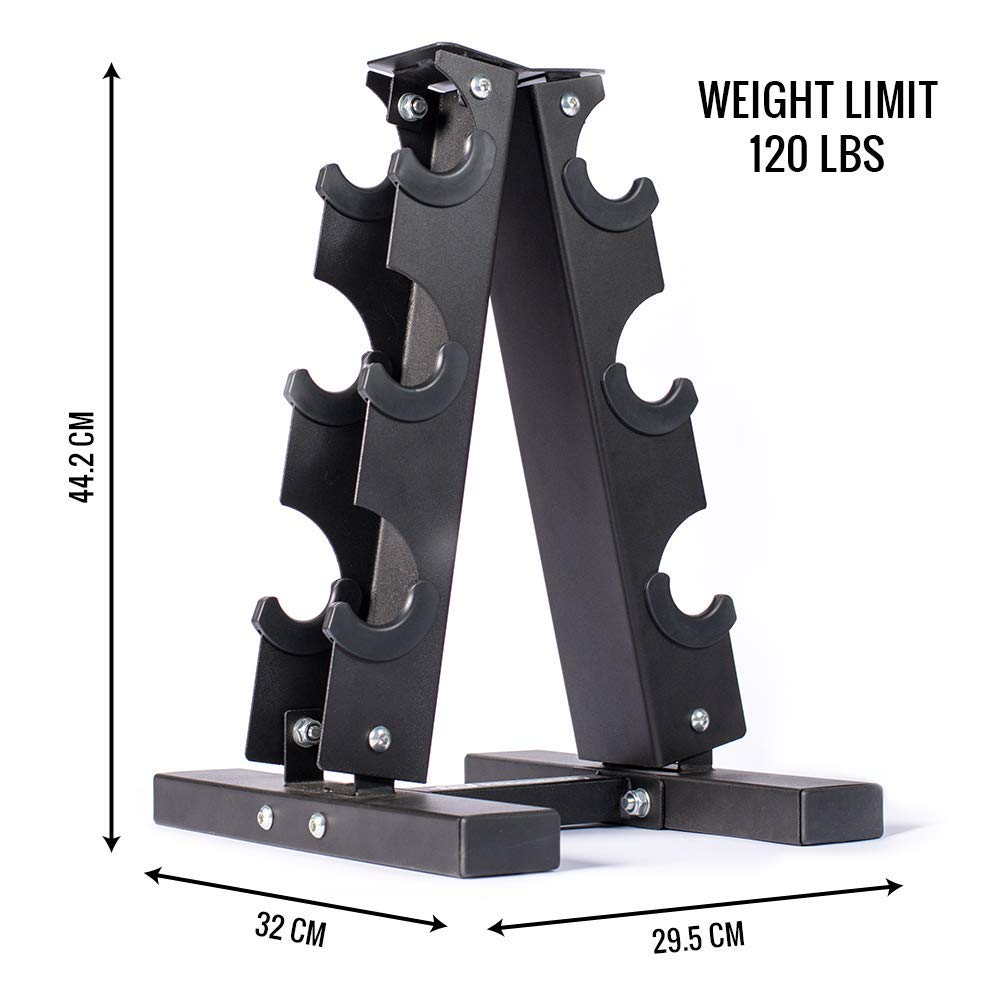 Fitness Alley Steel Dumbbell Rack - 3 Tier Weight Holder & 3 Tier Weight Rack Dumbbell Stand - Dumbbell Holder - Dumbbell Rack Stand - Weight Racks for Dumbbells of All Sizes by Fitness Alley (Image #3)