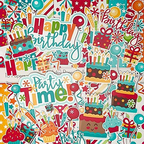 Birthday - Die Cuts & Paper Set - by Miss Kate Cuttables - 16 Sheets of 12