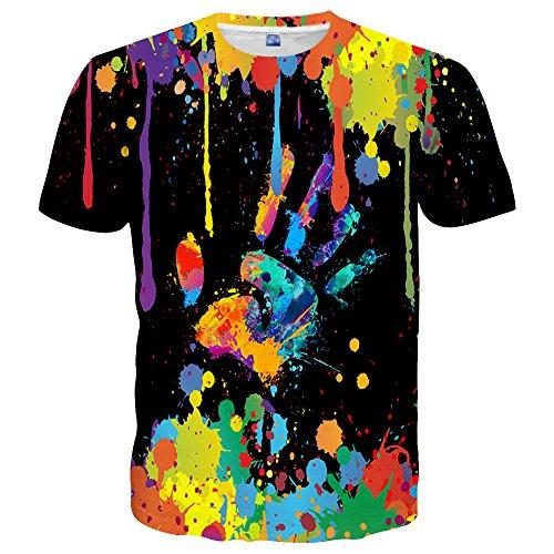 Neemanndy Unisex Print Colorful Rave Paint Shirt Mens Short Sleeve Crew Neck Shirt, Medium -