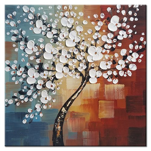 Wieco Art - Morning Glory Modern Abstract White Flowers Artwork 100% Hand Painted Floral Oil Paintings on Canvas Wall Art for Living Room Bedroom Home Office Decorations Wall Decor