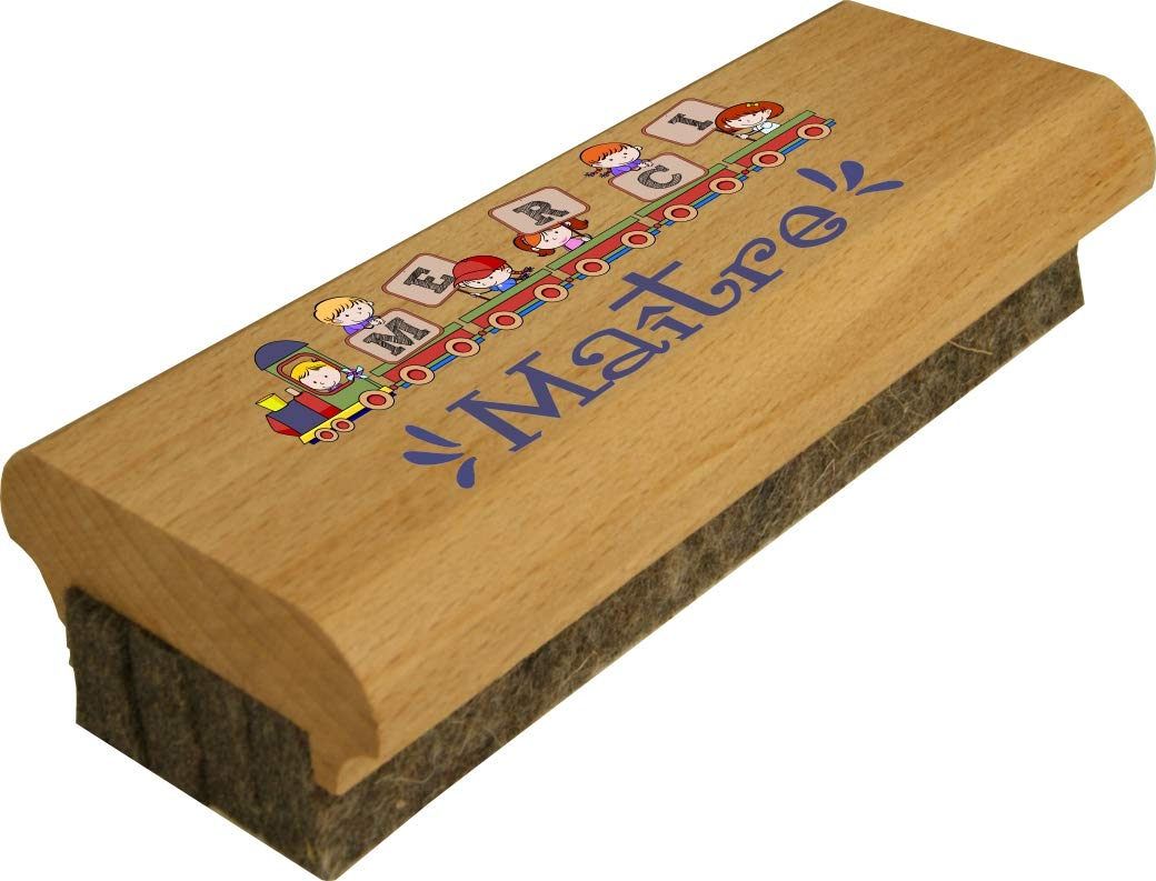 Brosse en Bois pour Tableau Merci Maître - efface le Feutre et la Craie sur les Tableaux Noirs comme sur les Tableaux Blancs – Cadeau Maître d'école primaire et maternelle instituteur