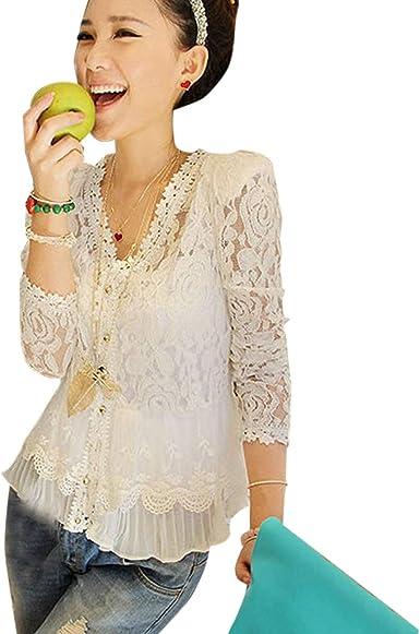 Blusa de Encaje Cardigan Camisa Camisa de Ganchillo Manga Larga Roupas Femininas Blusas: Amazon.es: Ropa y accesorios