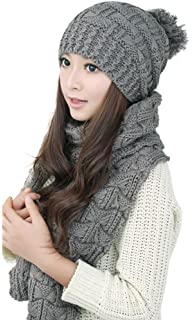 9fdb41e5afb MINAKOLIFE Womens Winter Knitted Scarf and Hat Set Thicken Skullcaps