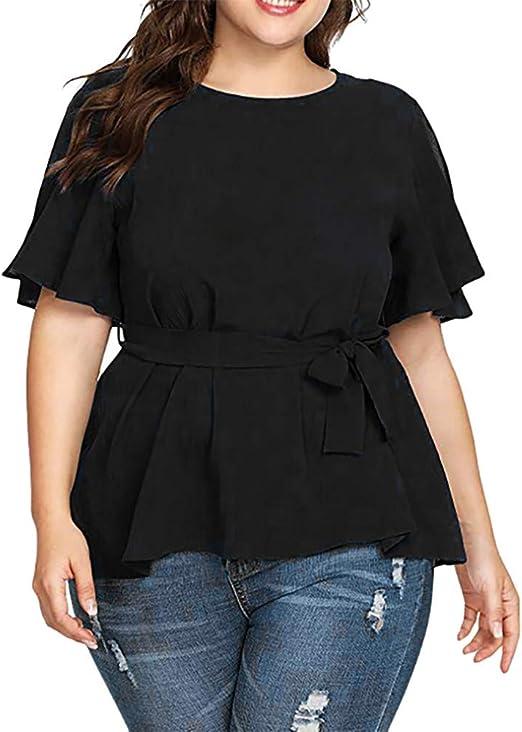 Blusas y Blusas para Mujer Camisa de Manga Corta de Talla Grande Lisa Blusa con Nudo con cinturón Tops Haut Femmes Mode: Amazon.es: Ropa y accesorios