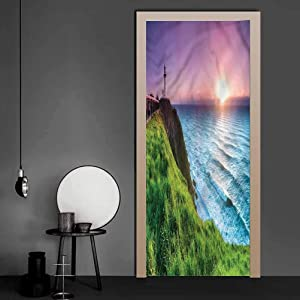WallStickers Lighthouse, Sun Beams Scenic Country Removable Wallpaper Wall Decal for Kids Room Bedroom Baby Room 17.1 x 78.7 Inch