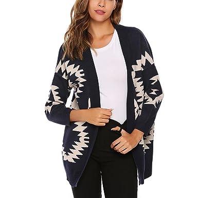 FARCOKO Women Sweaters Geometry Print Cardigan Casual Autumn