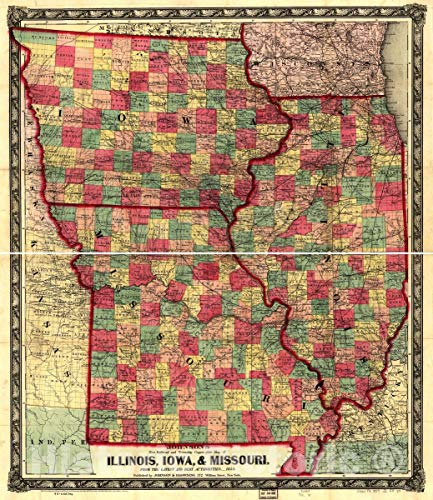 Historic 1859 Map   Johnson's New Railroad and Township Copper-Plate map of Illinois, Iowa, Missouri, from The Latest and Best Authorities. 20in x 24in