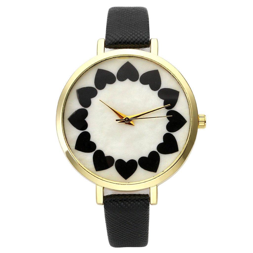 Top Plaza Heat Petals Dial Golden Alloy Case Small PU Leather Strap Analog Quartz Wrist Watch for Gilrs Women-Black