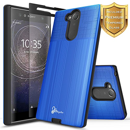 NageBee [Brushed] Case Compatible with Sony Xperia XA2 Ultra w/[Full Coverage Tempered Glass Screen Protector] Premium Heavy Duty Armor Defender Dual Layer Protective Shock Proof Case (Blue)