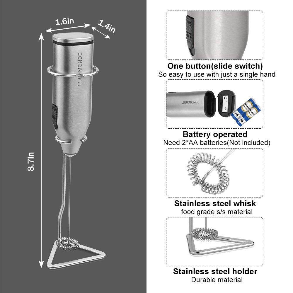 Luukmonde, 2 fruste in acciaio inox, a batteria, con supporto automatico per schiuma, ideale per latte macchiato, cappuccino, cioccolata calda (argento)
